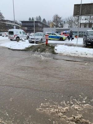 10.02.2021 Hydrantschaden Schneepflug Langestraße