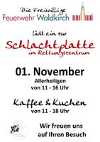 Ankündigung: Schlachtplatte im Rettungszentrum Waldkirch am 01.11.2017