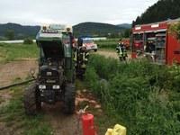 Brand an einem landwirtschaftlichen Nutzfahrzeug