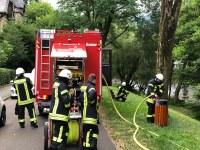 Brennender Mülleimer, am Kastelberg