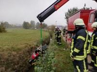 Vegetationsbrand bei Batzenhäusle und Motorroller in Gewässer